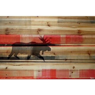 Parvez Taj - 'Lone Moose' Painting Print on Natural Pine Wood