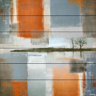 Parvez Taj - 'Through Orange and Grey' Painting Print on White Wood