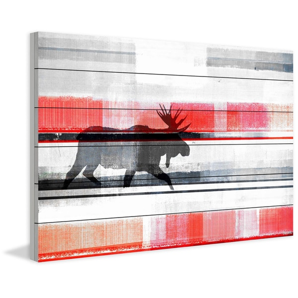 Handmade Parvez Taj - Lone Moose Print on White Wood