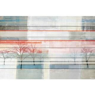 Parvez Taj - 'Striped View' Painting Print on White Wood