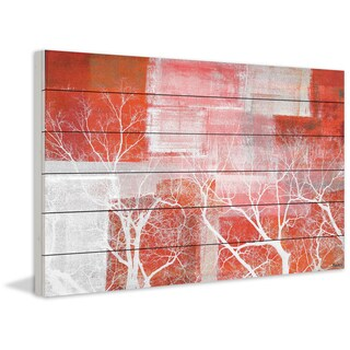 Parvez Taj - 'Red Landscape' Painting Print on White Wood