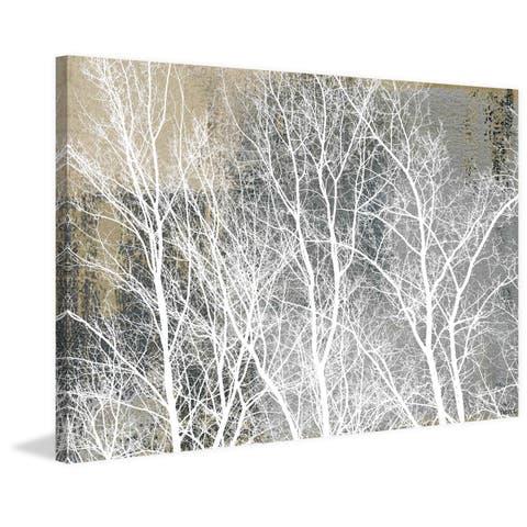 Handmade Parvez Taj - Frosty White Branches Print on Wrapped Canvas