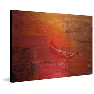 Parvez Taj - 'Red Envelopment' Painting Print on Brushed Aluminum