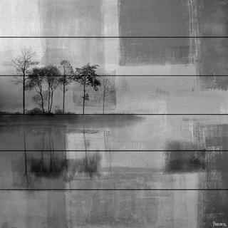 Parvez Taj - 'Grey Landscape' Painting Print on White Wood