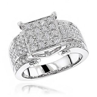 Luxurman 14k White Gold 1 1/5ct TDW Diamond Designer Engagement Ring