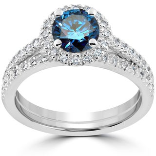 14k White Gold 1 3/8 ct TDW Blue & White Diamond Engagement Ring & Matching Wedding Band Set (H-I,I1-I2)