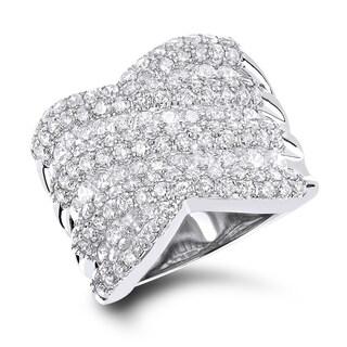 Luxurman 14k White Gold 3.5ct TDW Diamond Cocktail Ring (G-H; VS1-VS2)