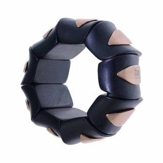 Isla Simone - Dark Wood Elastic Bangle With Copper