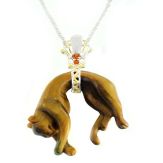 One-of-a-kind Michael Valitutti Hand Carved Panther in Tigers Eye with Madeira Citrine Pendant