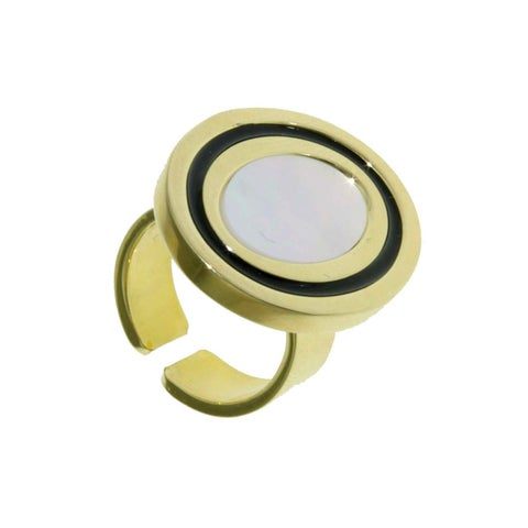Isla Simone - 18 Karat Gold Plate Ring With Mother Of Pearl And Black Enamel