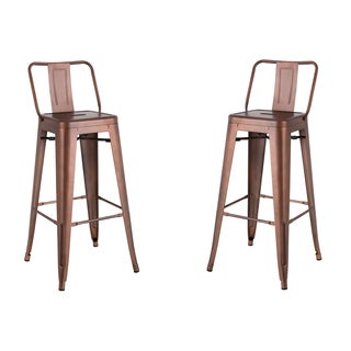 AC Pacific Red/Black/Gold Distressed Metal 30-inch Barstool with Vintage Finish (Set of 2)