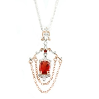 One-of-a-kind Michael Valitutti Red Fluorite and Dark Orange Sapphire Pendant