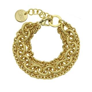 Isla Simone - 18 Karat Gold Electro Plated Three Strand Corrugated Oval Link Bracelet