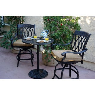 Darlee San Marcos Bronze-finished Aluminum 3-piece Bar Set with Sesame Seat Cushions