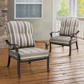 Furniture of America Garner Contemporary Outdoor Antique Black Cushioned Chair (Set of 2)