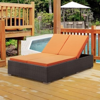 Furniture of America Manoa Outdoor Wicker Adjustable Split-Back Double Chaise Lounge