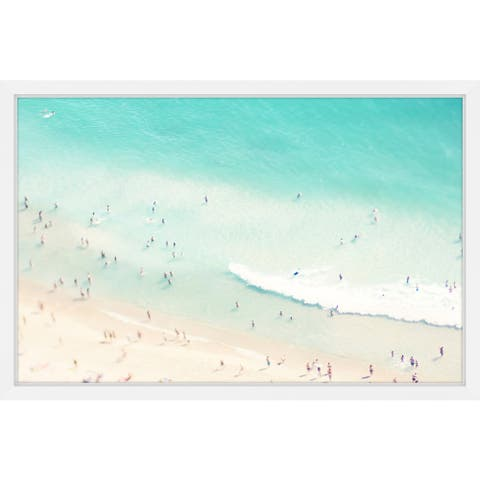 Marmont Hill - Handmade Playing in the Surf Framed Print