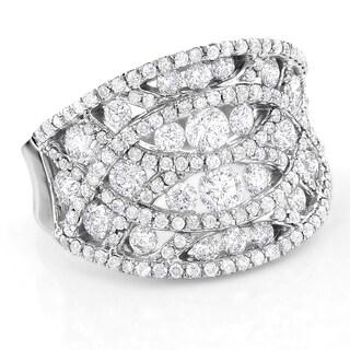 Luxurman 14k White Gold 3ct TDW Diamond Cage Right Hand Ring (F-G, VSI-VS2)
