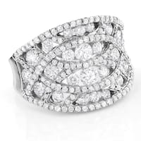 Luxurman 14k White Gold 3ct TDW Diamond Cage Right Hand Ring