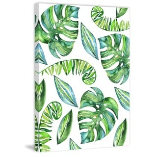 Marmont Hill - 'Tropical Leaves II' by Melanie Clarke Painting Print on Wrapped Canvas
