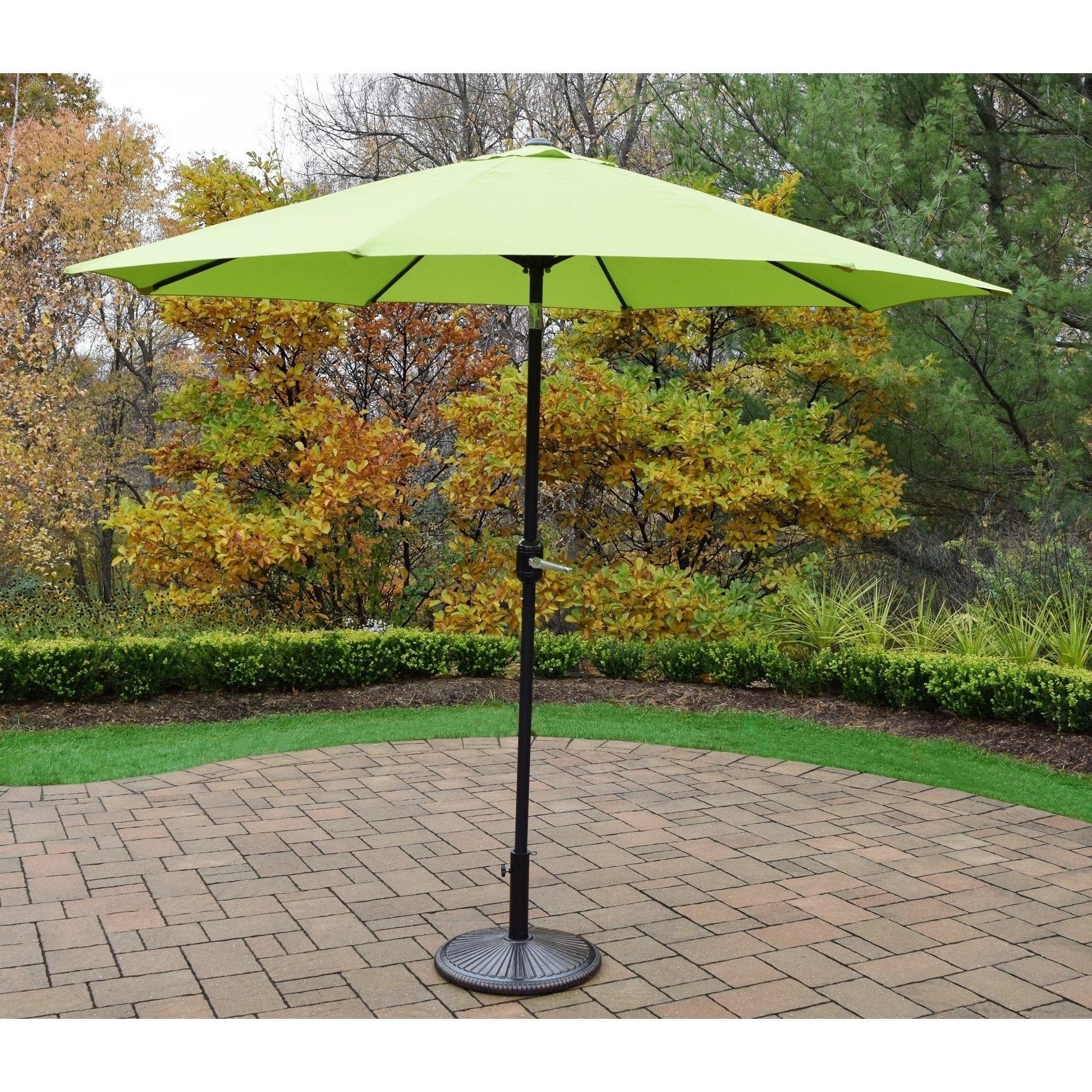 Oakland Living Corporation 9 Foot Crank And Tilt Umbrella With Cast
