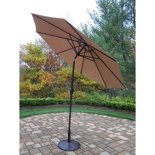 Brown, Black Iron and Polyester 9-foot Crank and Tilt Umbrella