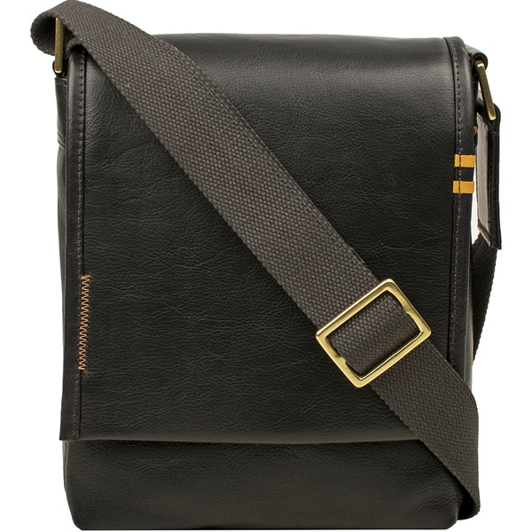 Hidesign Seattle Unisex Black/Brown/Tan Leather Crossbody Messenger Bag. Opens flyout.