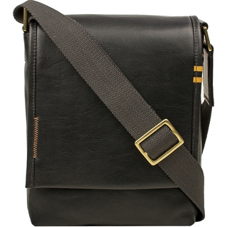 Hidesign Seattle Unisex Black/Brown/Tan Leather Crossbody Messenger Bag