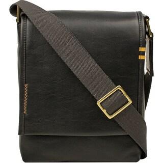 Hidesign Seattle Unisex Black/Brown/Tan Leather Crossbody Messenger Bag