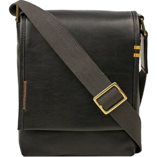 11cd3e330264 Hidesign Seattle Unisex Black Brown Tan Leather Crossbody Messenger Bag