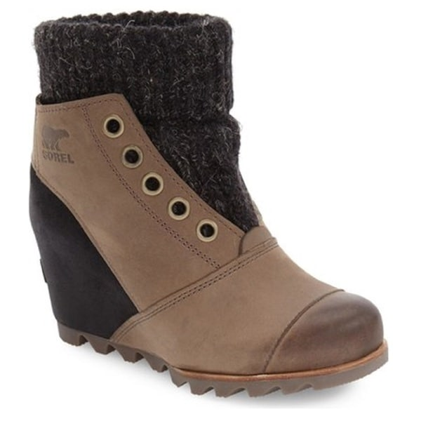 Shop Sorel Womens Joanie Brown Leather And Rubber Sweater Boots