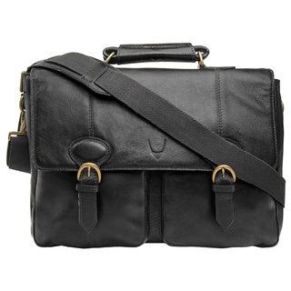 Hidesign Parker Black/Brown Leather Medium Briefcase