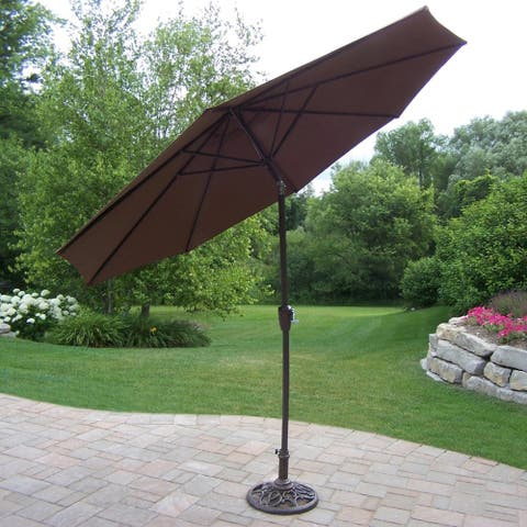 Oakland Living Corporation Brown 9-foot Tilt and Crank Umbrella and Stand