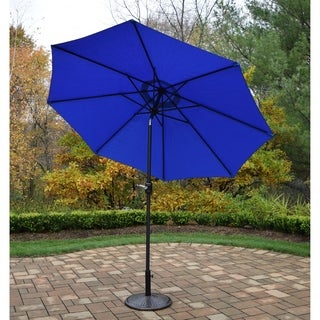 Oakland Living Corporation Blue Antique Bronze 9-foot Crank-and-tile Umbrella and Heavy-duty Stand