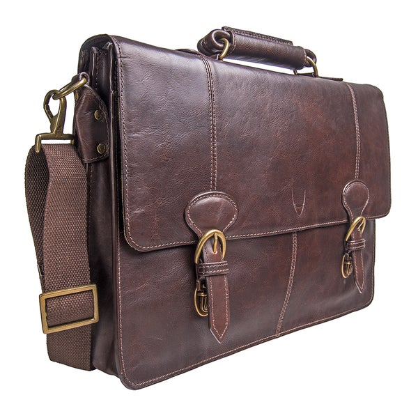 Solid Pattern Leather Material Business Softsided Brown Litigator Briefcase