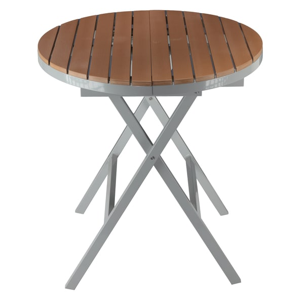 Cortesi Home Avery Aluminum Outdoor Round Folding Table In Poly Wood Teak