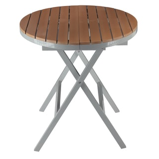 Cortesi Home Avery Aluminum Outdoor Round Folding Table in Poly Wood, Teak