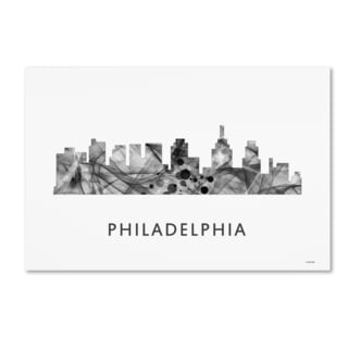 Marlene Watson 'Philadelphia Skyline WB-BW' Canvas Art