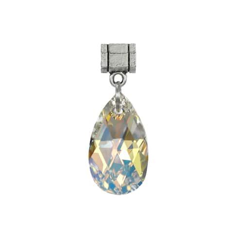 Handmade Jewelry by Dawn Aurora Borealis Crystal Pear Pendant (USA)