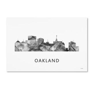 Marlene Watson 'Oakland California Skyline WB-BW' Canvas Art