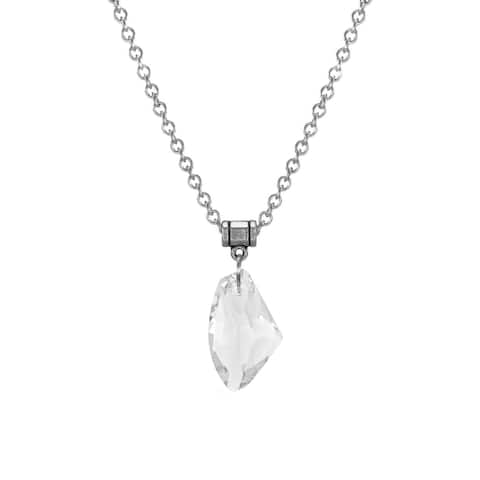 Handmade Jewelry by Dawn Large Clear Crystal Galactic Stainless Steel Chain Necklace (USA)