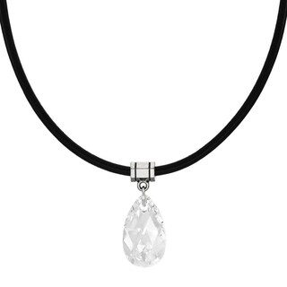 Handmade Jewelry by Dawn Clear Crystal Pear Leather Cord Necklace (USA)