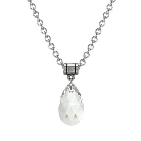 Handmade Jewelry by Dawn Clear Crystal Teardrop Pear Stainless Steel Chain Necklace (USA)
