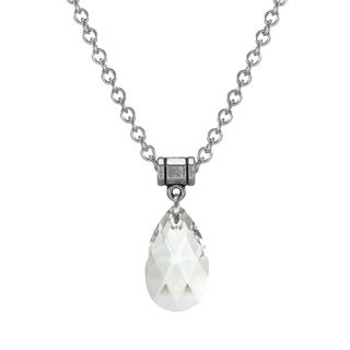 Handmade Jewelry by Dawn Clear Crystal Teardrop Pear Stainless Steel Chain Necklace
