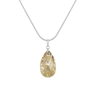 Jewelry by Dawn Large Golden Shadow Crystal Pear Sterling Silver Snake Chain Necklace