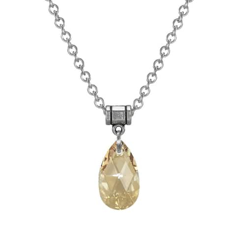 Handmade Jewelry by Dawn Golden Shadow Crystal Teardrop Pear Stainless Steel Chain Necklace (USA)