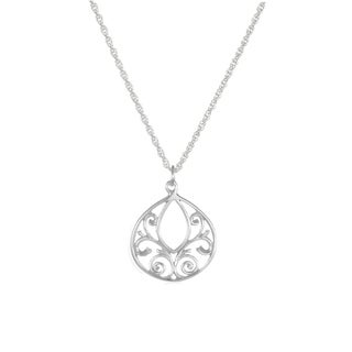 Jewelry by Dawn Fancy Filigree Teardrop Sterling Silver Rope Chain Necklace