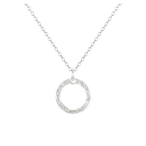 Handmade Jewelry by Dawn Small Hammered Ring Sterling Silver Necklace (USA)