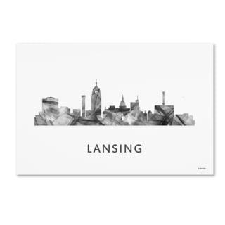 Marlene Watson 'Lansing Michigan Skyline WB-BW' Canvas Art