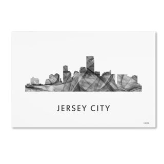 Marlene Watson 'Jersey City New Jersey Skyline WB-BW' Canvas Art